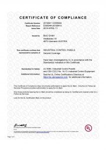 Certificate of compliance UL 508A