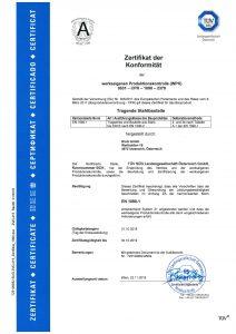 Zertifikat der Konformität - werkseigene Produktionskontrolle